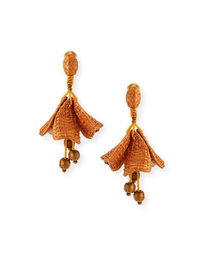 Raffia Impatiens Clip Earrings