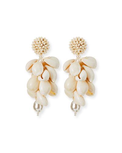 Shell Cluster Clip Earrings