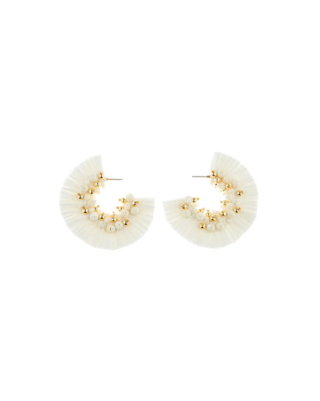 Oscar de la Renta Raffia Fringe Hoop Earrings, White