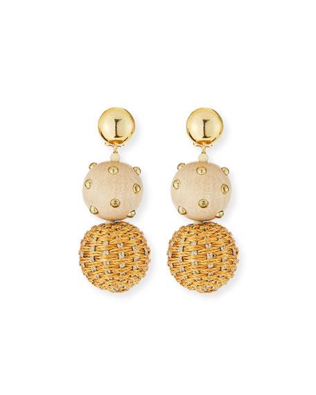 Oscar de la Renta Raffia and Wood Ball Clip Earrings