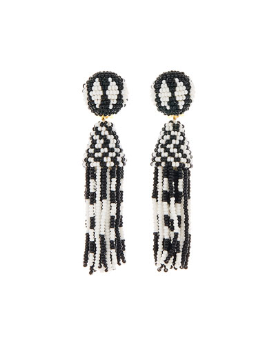 Short Beaded Tassel Clip Earrings, Black/White