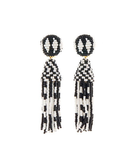 Oscar de la Renta Short Beaded Tassel Clip Earrings, Black/White