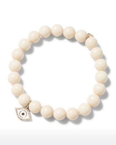 14k Enamel Evil Eye White Coral Bracelet