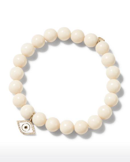 Sydney Evan 14k Enamel Evil Eye White Coral Bracelet