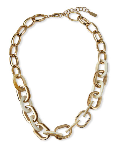 Horn and Raffia Chain Link Necklace