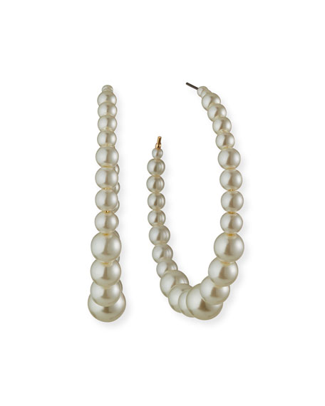 Kenneth Jay Lane Graduating Bead Hoop Earrings, Pearly