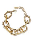 Akola Horn and Raffia Chain Link Bracelet