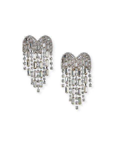 Kenneth Jay Lane Waterfall Rhinestone Heart Earrings