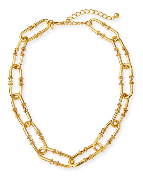 Kenneth Jay Lane Antiqued Oval-Link Necklace