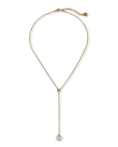 Aura Pearly Lariat Necklace