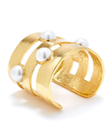Oscar de la Renta Pearly Split Cuff Bracelet