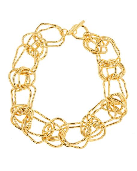 Oscar de la Renta Hammered Link Necklace