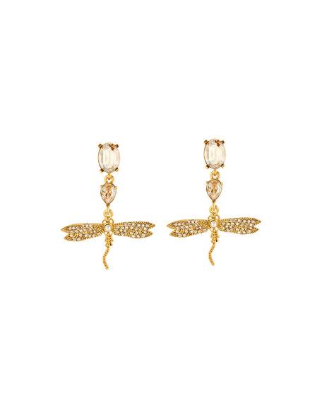 Oscar de la Renta Pearly Crystal Pave Dragonfly Drop Earrings