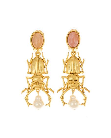 Oscar de la Renta Beetle Clip-On Drop Earrings