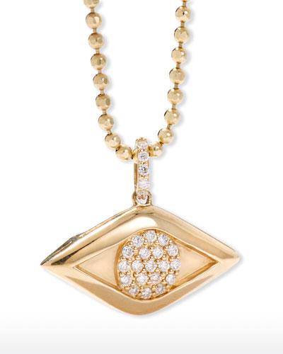 14k Diamond Evil Eye Locket Necklace