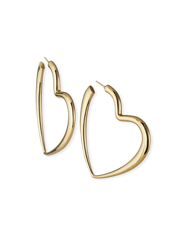 14k Graduated Heart Hoop Earrings