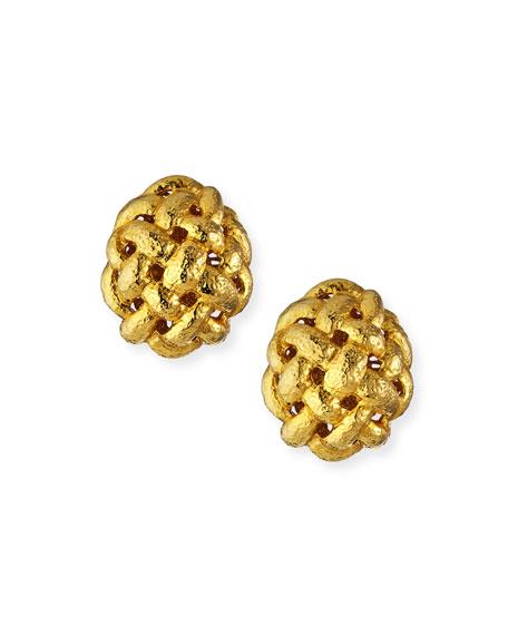 Jose & Maria Barrera Basket Weave Button Earrings