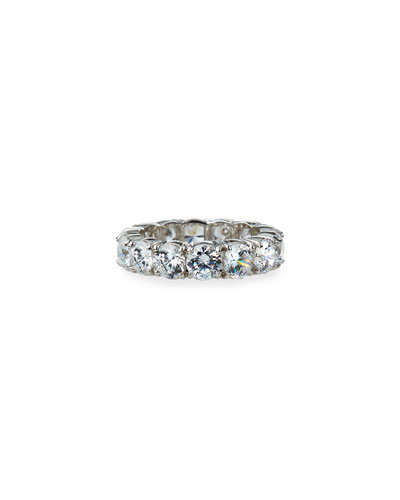 14k White Gold Cubic Zirconia Eternity Ring, Size 6-8