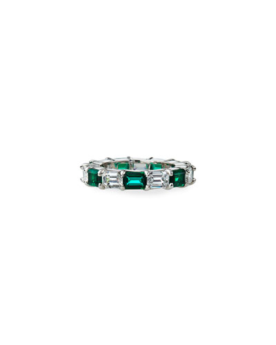 Synthetic Emerald and Cubic Zirconia Ring, Size 6-8