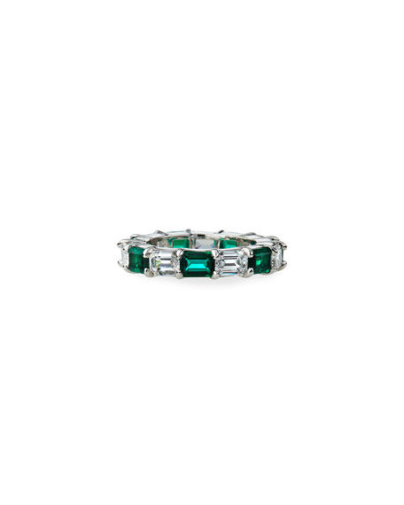 Fantasia by DeSerio Synthetic Emerald and Cubic Zirconia Ring, Size 6-8