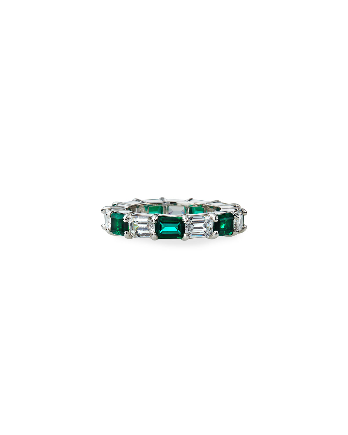 5 TCW Synthetic Emerald and Cubic Zirconia Ring