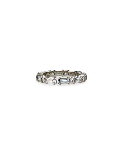 Cubic Zirconia Round and Baguette Ring, Size 6-8