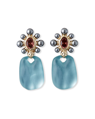 Byzantine Pearl Floret Drop Clip Earrings, Blue