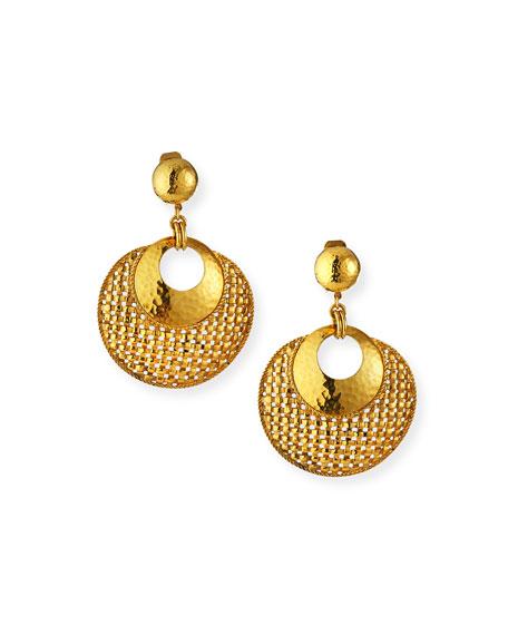 Jose & Maria Barrera Basket Weave Clip Earrings