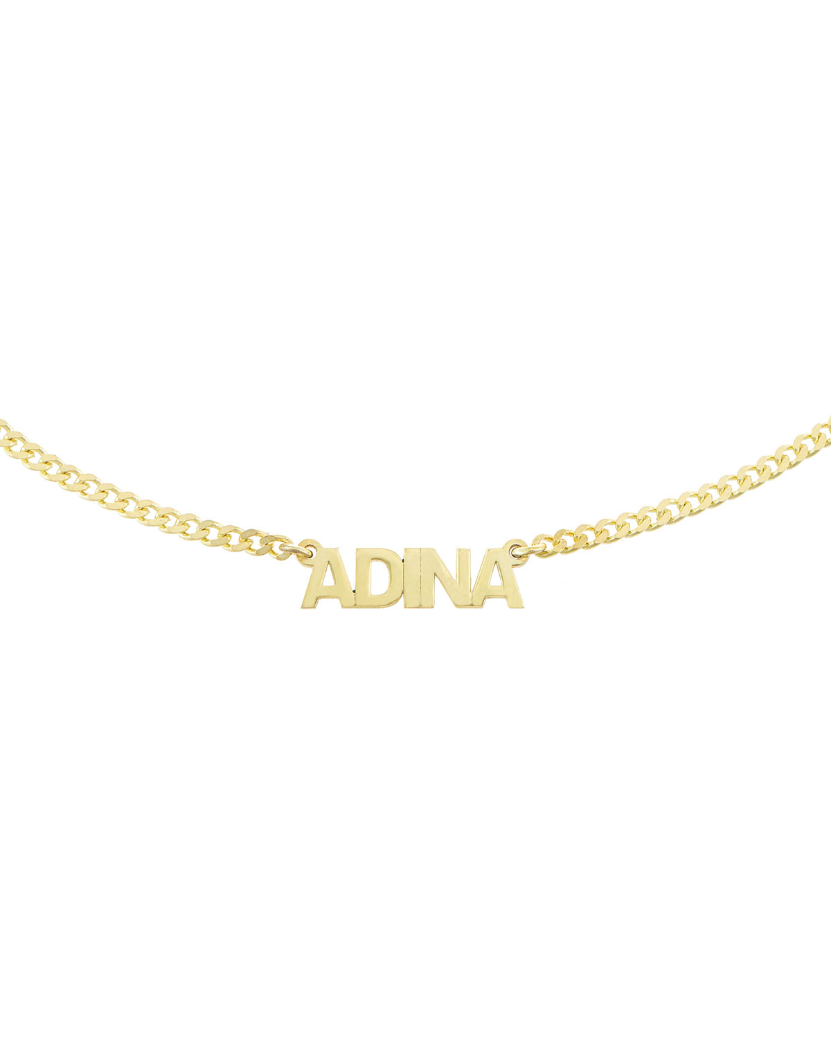 Personalized Mini Nameplate Chain Choker Necklace in Gold Vermeil