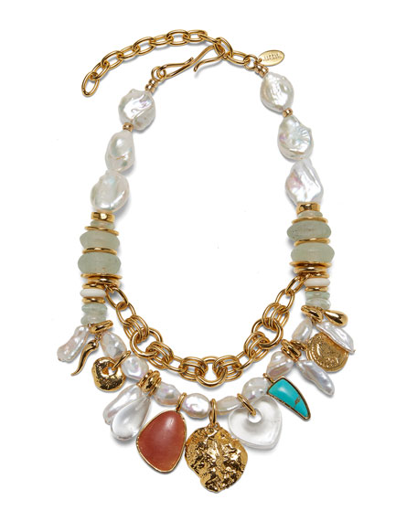Lizzie Fortunato Seascape Mixed-Charm Necklace