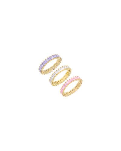 Pastel Cubic Zirconia Rings, Set of 3, Size 6-8
