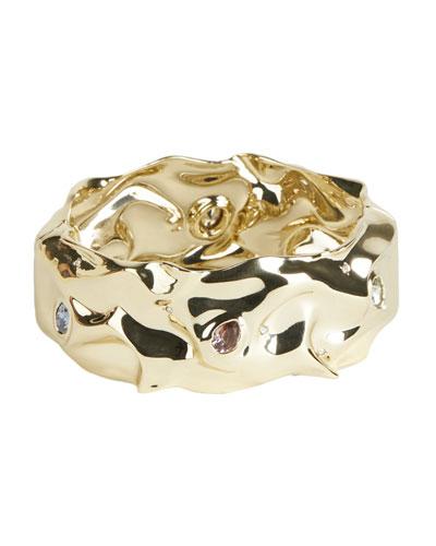 Stone Studded Crumpled Hinge Bracelet