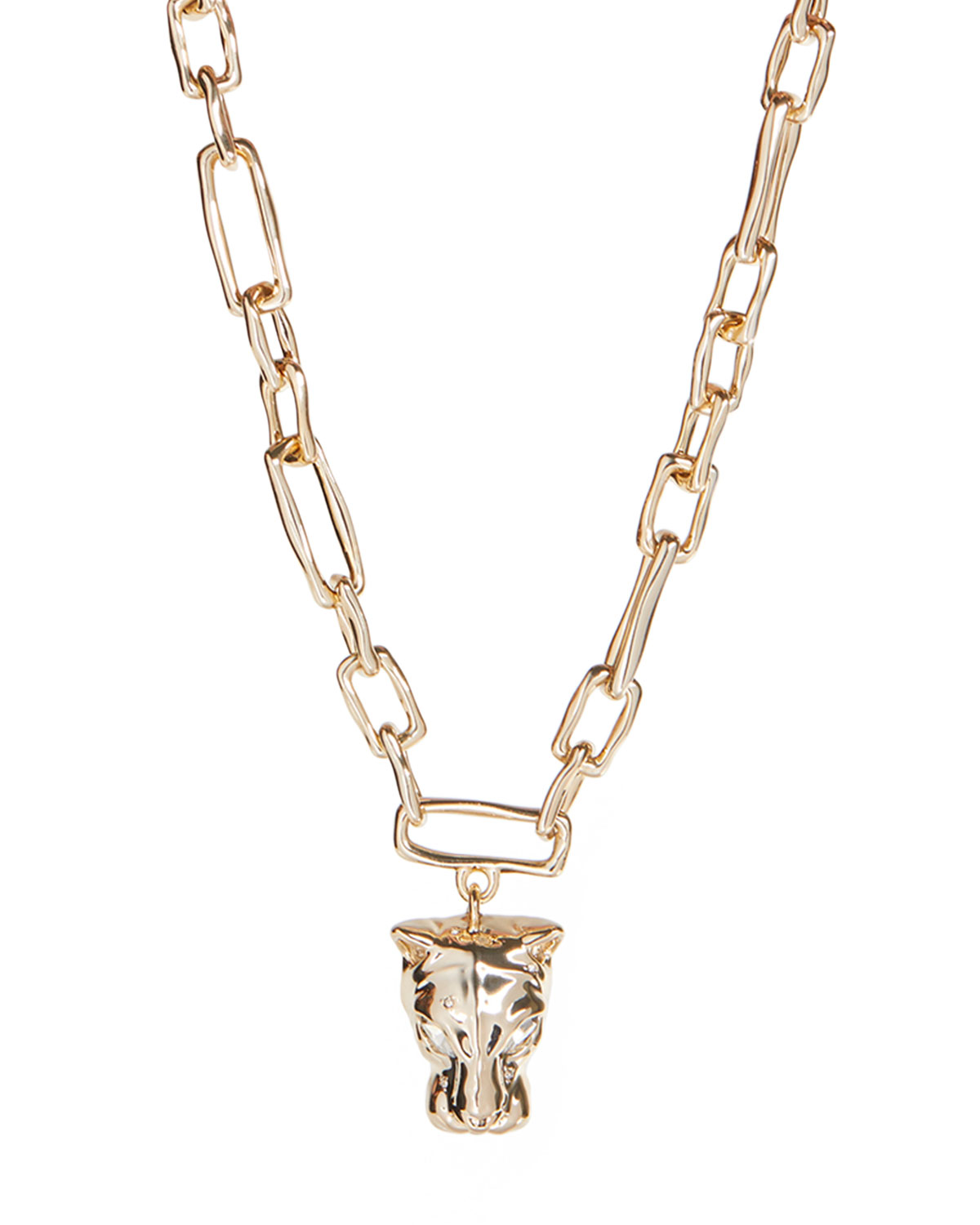 Panther Head Chain Link Necklace