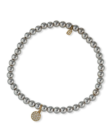 Sydney Evan 14k White Gold Bead Bracelet with Diamond Disc