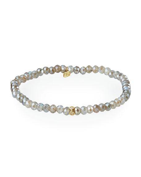 Sydney Evan 14k Labradorite and Diamond Rondelle Bracelet