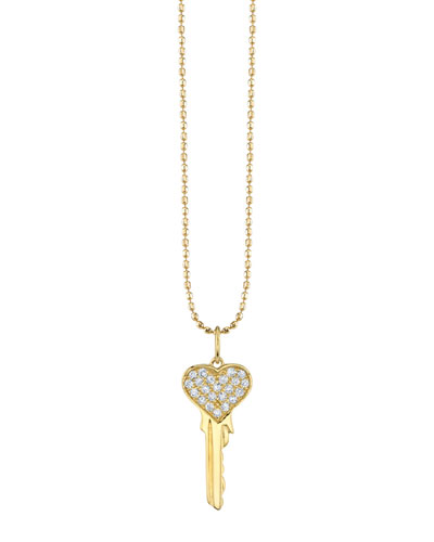 14k Yellow Gold Diamond Heart Key Necklace