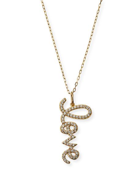 Sydney Evan 14k Diamond Medium Love Script Necklace
