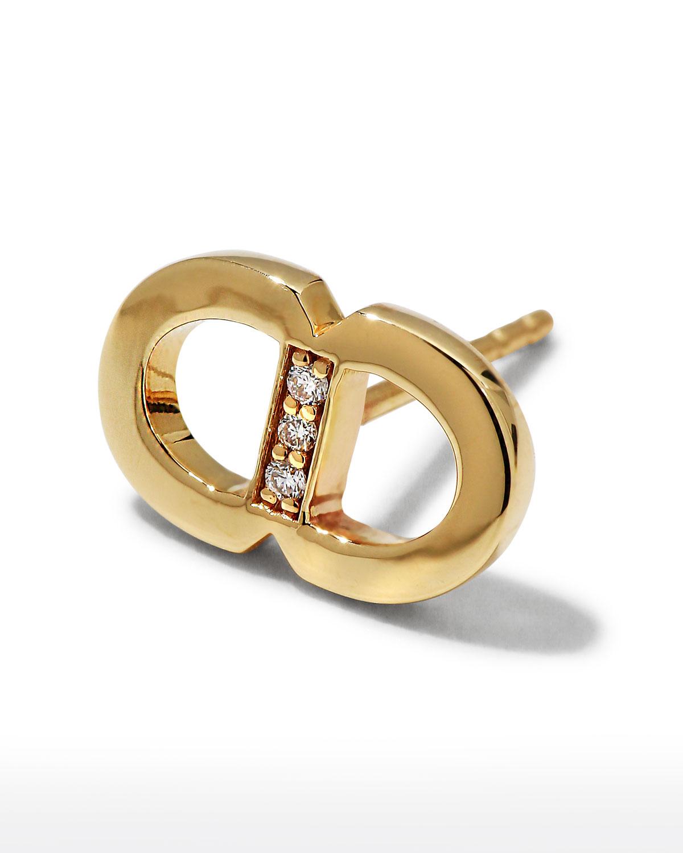 Sydney Evan Earrings 14K DIAMOND PAVE LINK STUD EARRINGS