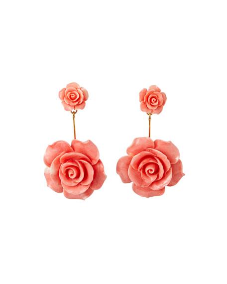 Jennifer Behr Johanna Flower Earrings, Coral