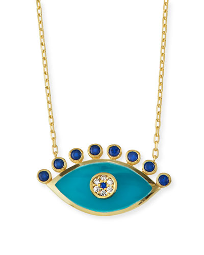 Evil Eye Pendant Necklace with Cubic Zirconia