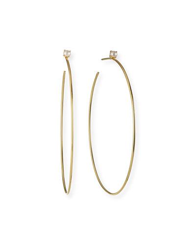 SS OVAL HOOP EAR//FULL DIA CUT Hoop Earrings