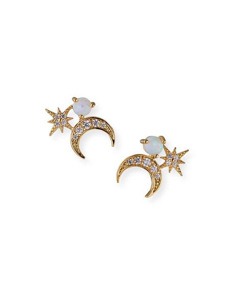 Tai Half Moon Stud Earrings, White
