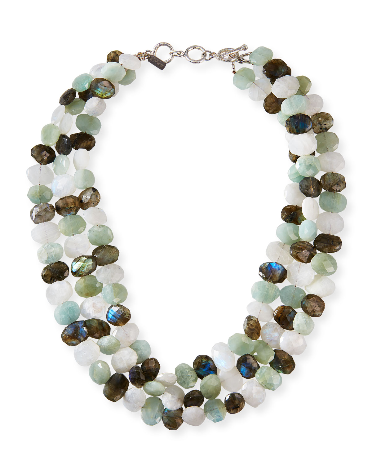 3-Strand Moonstone and Mixed-Bead Necklace