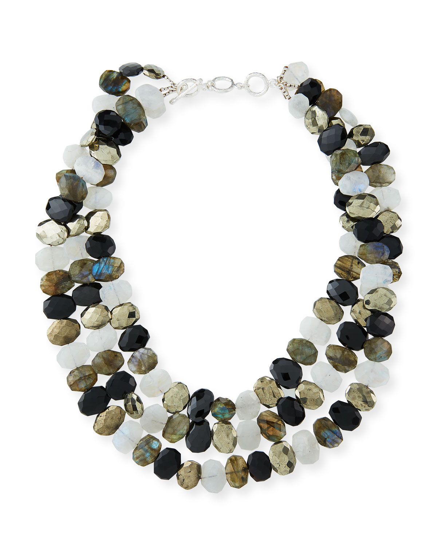 3-Strand Black Garnet Necklace