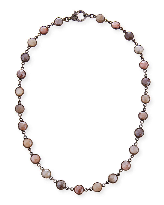 Mystic Moonstone Slice Necklace