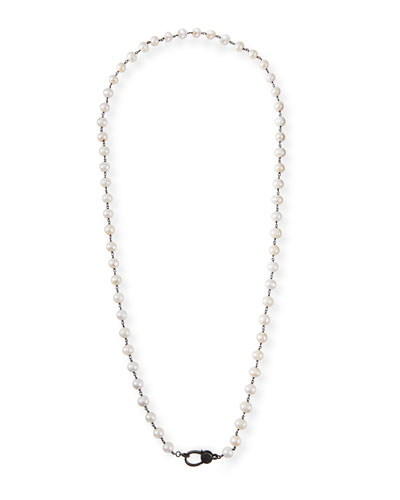 Long Pearl Chain Necklace, 35