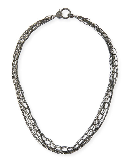 Margo Morrison Multi-Chain Diamond-Clasp Necklace