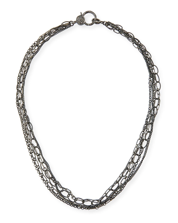 Multi-Chain Diamond-Clasp Necklace