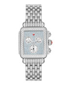 MICHELE Deco Stainless Pave Sapphire and Diamond Watch