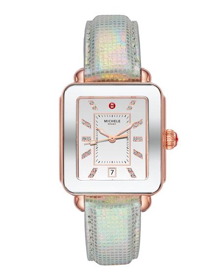 MICHELE Deco Sport Pink Gold-Tone Aqua Topaz Dial Watch, Pink Gold